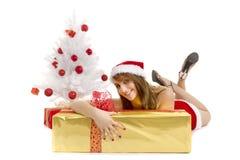 Christmas woman present stock photos