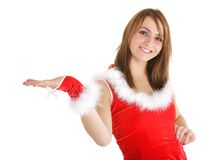 Christmas woman presentation Royalty Free Stock Images
