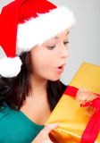 Christmas woman with presents Stock Image