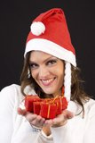 Christmas woman with presents Royalty Free Stock Photos