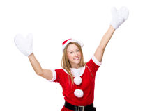 Christmas woman raise up her hand with gloves. Isolated on white background Royalty Free Stock Image