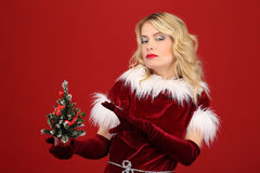 Christmas woman in red dress Royalty Free Stock Photos