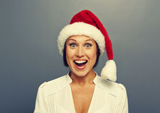 Christmas woman in red hat Royalty Free Stock Photos