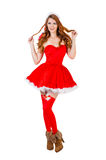 Christmas woman in red santa claus clothes Stock Images