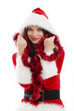 Christmas woman and red tinsel Stock Image
