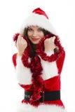 Christmas woman and red tinsel stock image