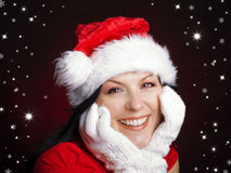 Christmas woman in santa cap with stars Royalty Free Stock Image