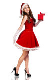 Christmas woman in Santa Claus hat Stock Photography