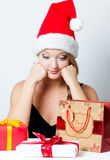 Christmas woman in Santa hat Royalty Free Stock Photo