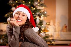 Christmas Woman in Santa Hat Royalty Free Stock Photos