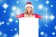 Christmas woman in santa hat holding empty board03 Stock Image