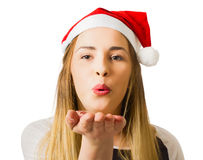 Christmas woman sending hope and prosperity Stock Images