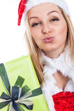 Christmas woman sending kiss Royalty Free Stock Image