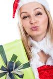 Christmas woman sending kiss Royalty Free Stock Image