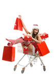 Christmas woman at shopping Stock Photography