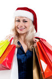 Christmas woman with shopping bags Royalty Free Stock Image