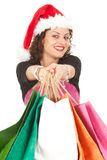 Christmas woman with shopping bags Royalty Free Stock Images