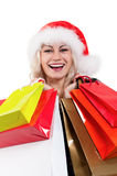 Christmas woman with shopping bags Stock Photography