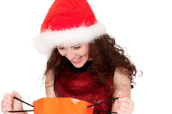 Christmas woman with shopping bags Stock Photos