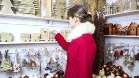 Christmas woman shopping decoration stock video