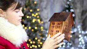 Christmas woman shopping golden house decoration stock footage