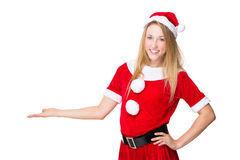 Christmas woman show with blank sign Stock Images