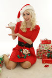 Christmas woman showing blank card Stock Image