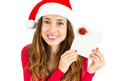 Christmas woman showing gift card Stock Photography