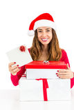Christmas woman showing sign card Stock Image