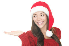 Christmas Woman Showing Your Product Stock Images