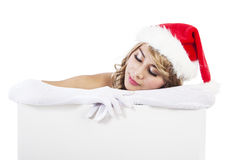 Christmas woman with sign banner Royalty Free Stock Photo