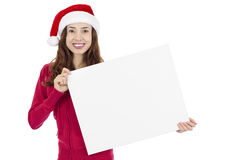 Christmas woman with a sign board Royalty Free Stock Photo
