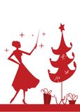 Christmas woman silhouette. In front of a Christmas tree,  illustration Royalty Free Stock Photo
