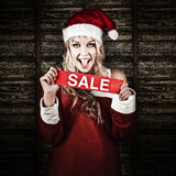 Christmas Woman With Smile And Xmas Sale Sign Stock Photography