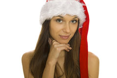 Christmas woman with smiling Stock Photography