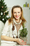 Christmas woman - smiling, happy and beautiful Royalty Free Stock Photos