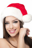 Christmas woman smiling portrait closeup Royalty Free Stock Photos