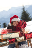 Christmas woman on the snow Royalty Free Stock Photo