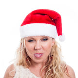 Christmas woman sticking out tongue Stock Photo
