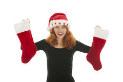Christmas woman with stocking Royalty Free Stock Photos
