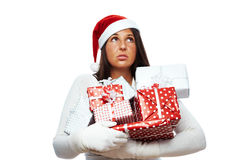 Christmas woman stressed out Royalty Free Stock Image
