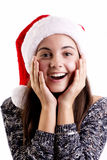 Christmas woman surprised Stock Photography