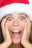 Christmas woman surprised closeup Royalty Free Stock Photography