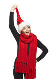 Christmas woman surprised Royalty Free Stock Photos