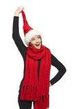 Christmas woman surprised Royalty Free Stock Photos