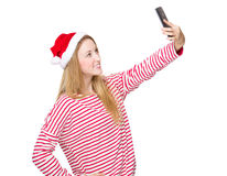 Christmas woman take selfie Royalty Free Stock Photos