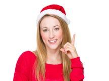 Christmas woman think of idea Royalty Free Stock Photos