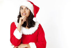 Christmas woman thinking Royalty Free Stock Photography