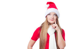Christmas woman thinking Stock Photos