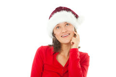 Christmas woman thinking about something special Royalty Free Stock Images